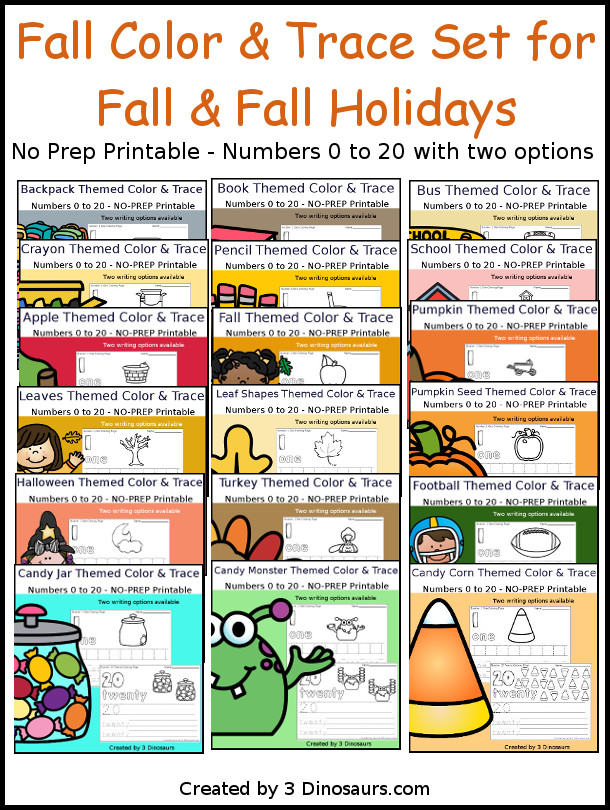No-Prep Fall Number Color and Trace Bundle - easy no-prep printables with a fun fall themes 528 pages with two options for the numbers tracing or writing $ - 3Dinosaurs.com