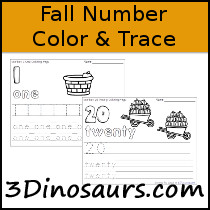Fall Themed Number Color & Trace