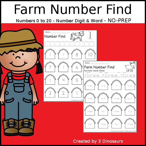 Farm Number Find - easy to use no-prep printable numbers 0 to 20 $ - 3Dinosaurs.com