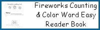 Fireworks Themed Counting & Color Word Easy Reader Book