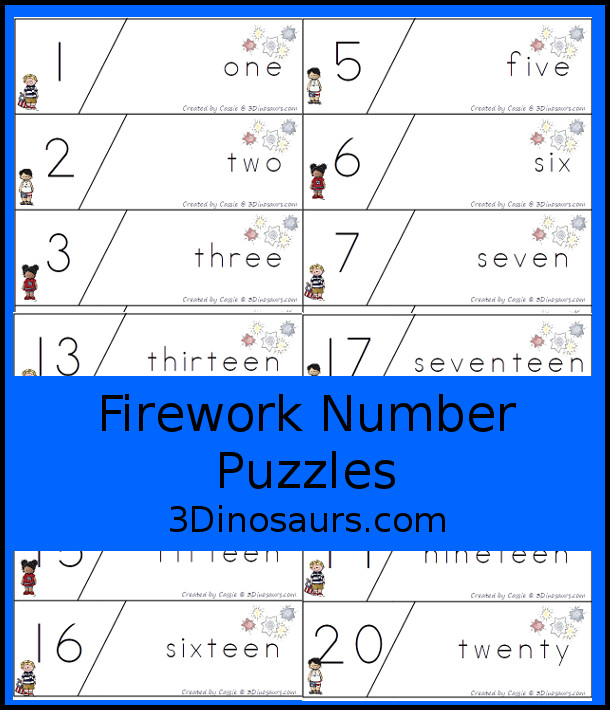 Free Firework Number Puzzles - work on matching number digit and number word in matching puzzles for numbers 1 to 20 - 3Dinosaurs.com #3dinosaurs #handsonmath #freeprintable #numbers #prek #kindergarten