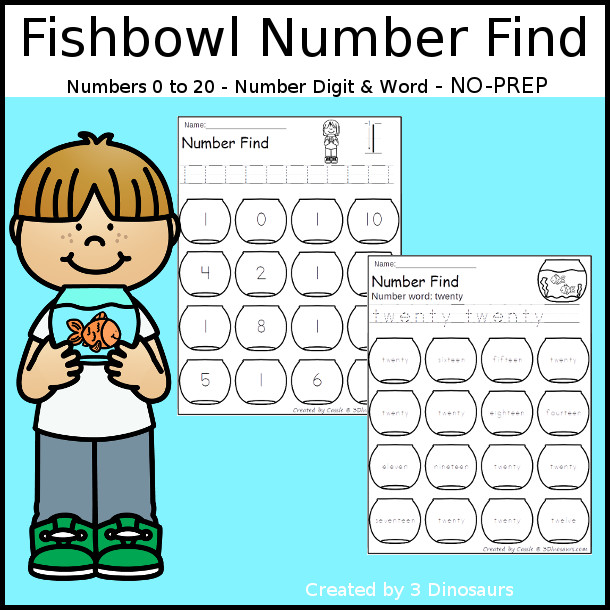 Fish Bowl Number Find - easy to use no-prep printable numbers 0 to 20 $ - 3Dinosaurs.com