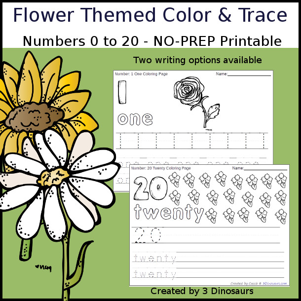 No-Prep Flower Themed Number Color and Trace - easy no-prep printables with a fun easter theme 44 pages with two options for the numbers tracing or writing $ - 3Dinosaurs.com #noprepprintable  #numbersforkids