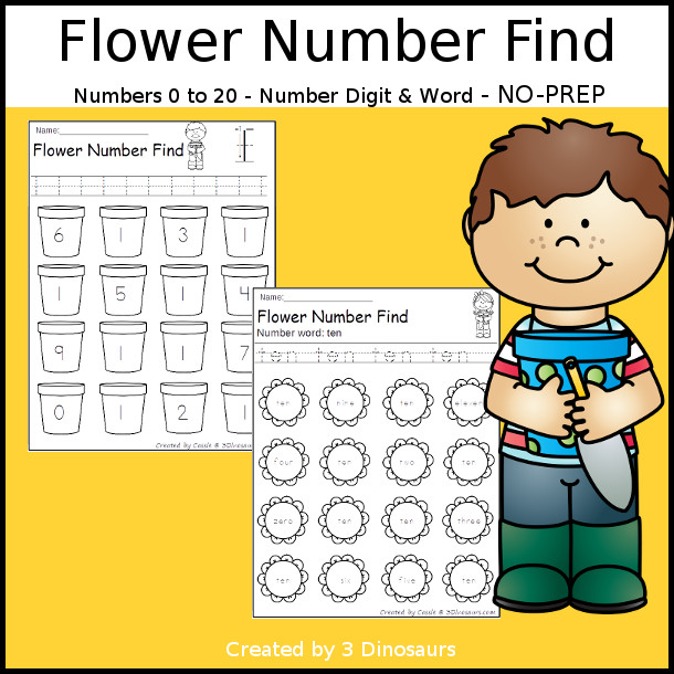 Flower Number Find  - easy to use no-prep printable $ - 3Dinosaurs.com
