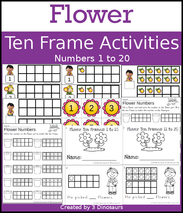 Flower Themed Ten Frame Set: 4 sets of number cards, hands-on and no prep printables, 2 easy reader books with numbers 1 to 20 $ - 3Dinosaurs.com