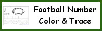 Football Themed Number Color & Trace