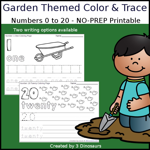 No-Prep Garden Themed Number Color and Trace - easy no-prep printables with a fun garden theme 44 pages with two options for the numbers tracing or writing $ - 3Dinosaurs.com #noprepprintable #gardenprintables #numbersforkids