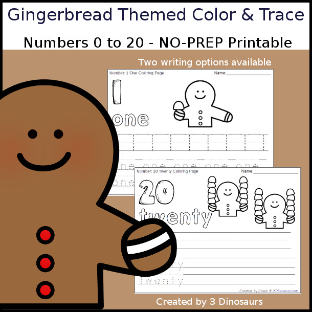 No-Prep Gingerbread Themed Number Color and Trace - easy no-prep printables with a fun gingerbread theme 44 pages with two options for the numbers tracing or writing $ - 3Dinosaurs.com #noprepprintable #christmasprintables #numbersforkids