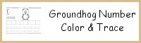 Groundhog Themed Number Color & Trace