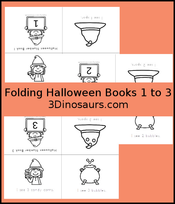 Halloween Number Books 1 to 3 - 3 pages of printables - 3Dinosaurs.com