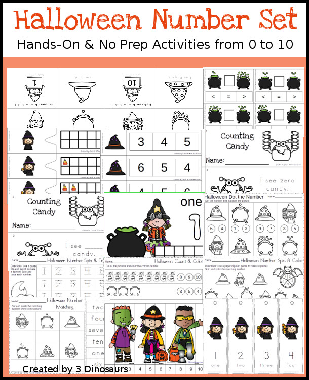 Halloween Themed Number Set 1 to 10 | 3 Dinosaurs