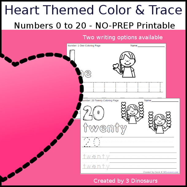 No-Prep Heart Themed Number Color and Trace - easy no-prep printables with a fun heart theme 44 pages with two options for the numbers tracing or writing $ - 3Dinosaurs.com #noprepprintable #valentinesprintables #numbersforkids