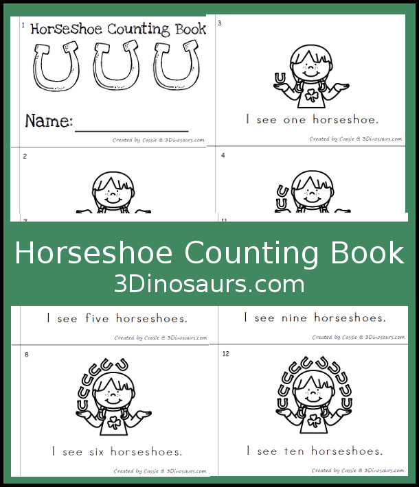 Free Horseshoe Counting Book - numbers 0 to 10 - 3Dinosaurs.com