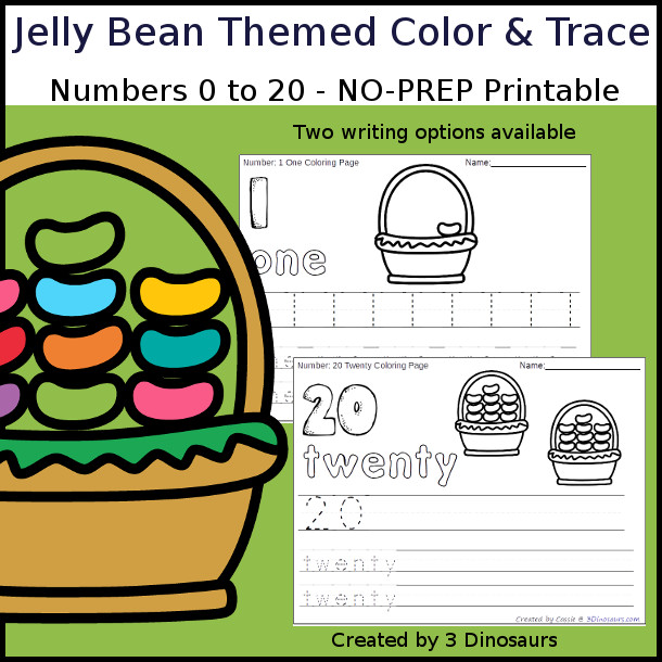 No-Prep Jelly Bean Themed Number Color and Trace - easy no-prep printables with a fun jelly bean theme 44 pages with two options for the numbers tracing or writing $ - 3Dinosaurs.com #noprepprintable #easterprintables #numbersforkids