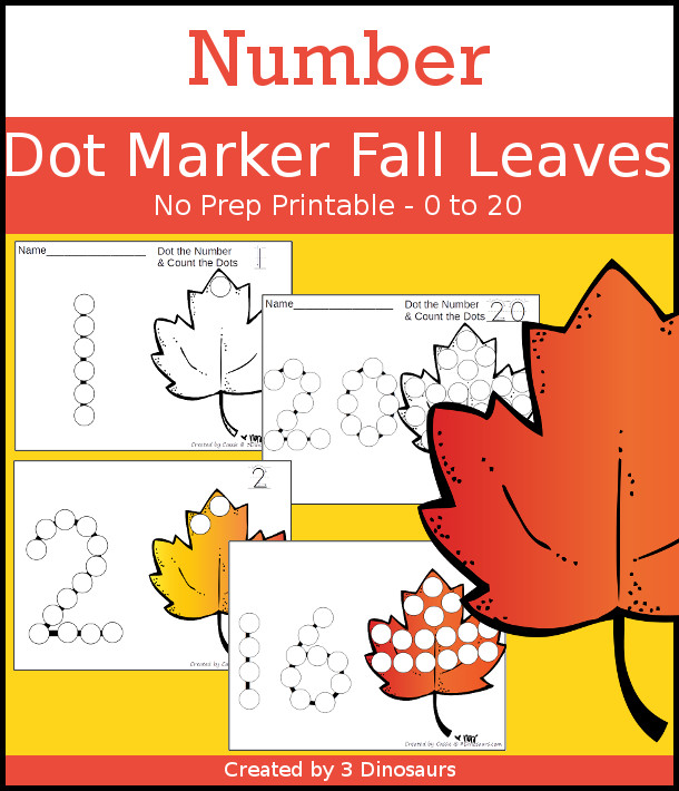 Fall Leaf Dot the Number & Count the Dots - numbers 0 to 20 with dot marker activities for kids to work on numbers and counting - 3Dinosaurs.com