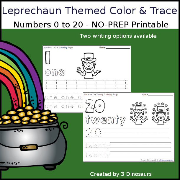 No-Prep Leprechaun Themed Number Color and Trace - easy no-prep printables with a fun st patrick's day theme 44 pages with two options for the numbers tracing or writing $ - 3Dinosaurs.com #noprepprintable #stpatricksdayprintables #numbersforkids
