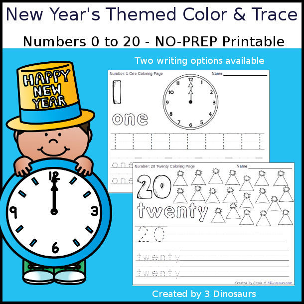 No-Prep New Year's Themed Number Color and Trace - easy no-prep printables with a fun new years theme 44 pages with two options for the numbers tracing or writing $ - 3Dinosaurs.com #noprepprintable #newyearsprintables #numbersforkids
