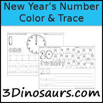 New Year's Themed Number Color & Trace