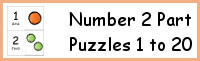 Number 2 Piece Puzzles 1 to 20