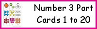 Number 3 Part Cards 1 to 20
