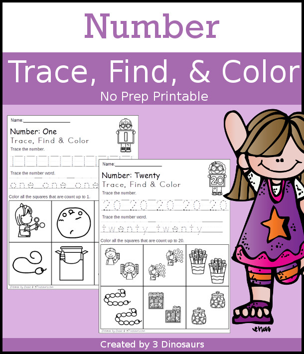 Number Find Color & Trace - with nubmers 1 to 20 with tracing for number digit and number work $ - 3Dinosaurs.com