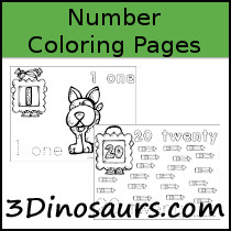 Free Number Coloring Pages - 3Dinosaurs.com