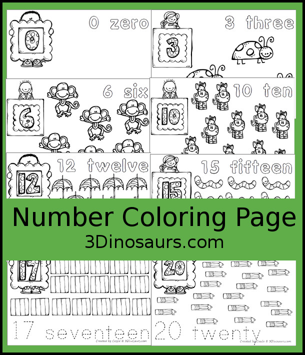 Free Number Coloring Pages - numbers 0 to 20 - 3Dinosaurs.com