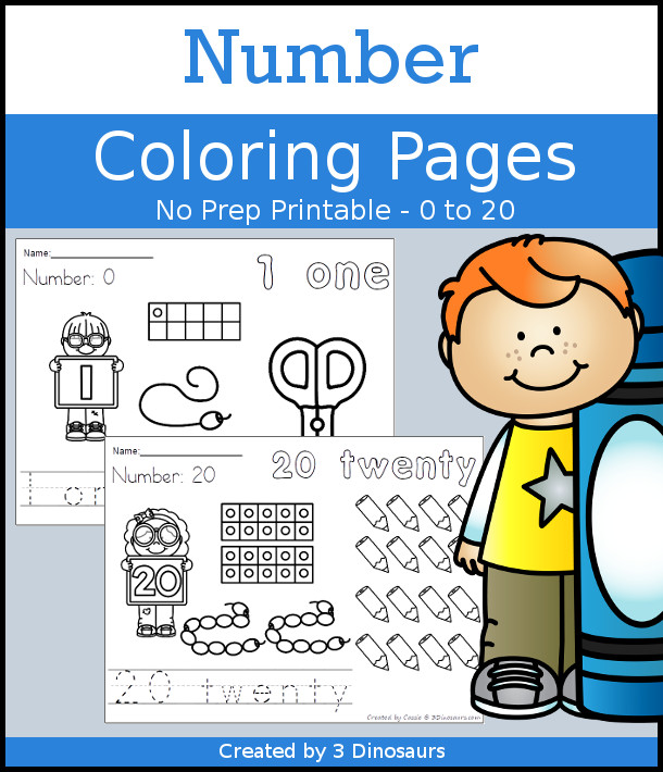 Number Coloring Pages - with numbers 0 to 20 with ten frames, tracing, coloring and counting - 3Dinosaurs.com