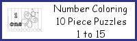 Number Coloring 10 Piece Puzzles