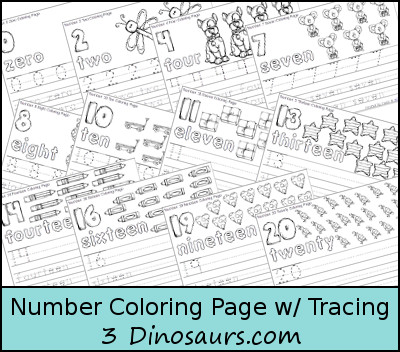 Number Coloring Page With Tracing