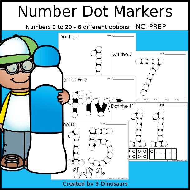 Number Dot Marker Printables - with mix of number digit and number word - 3Dinsoaurs.com