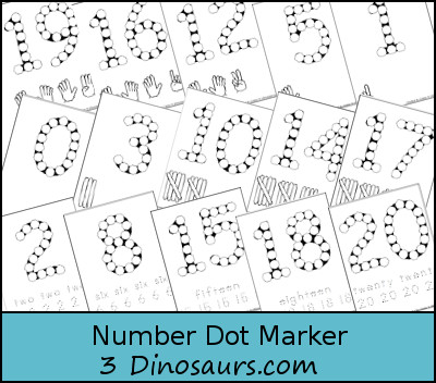 3 Dinosaurs Number Dot Pages