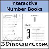 Interactive Number Books - 21 books including number o to 20 with tracing, coloring and writing - 3Dinosaurs.com