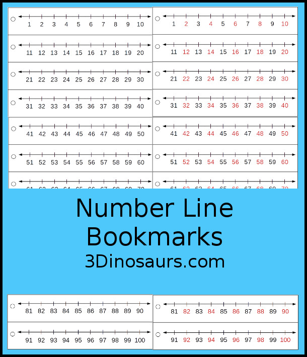 Free Printable Number Line - it has numbers from 1 to 100 and comes in two options - 3Dinosaurs.com #3dinosaurs #numberline #freeprintable #numbers #kindergarten #firstgrade