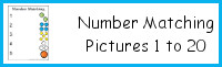 Number Matching with Pictures 1 to 20