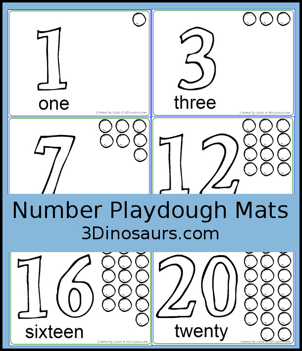 picture about Large Printable Numbers 1-20 called Fresh Totally free 1 in the direction of 20 Variety Printables 3 Dinosaurs