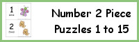Number 2 Piece Puzzles 1 to 15