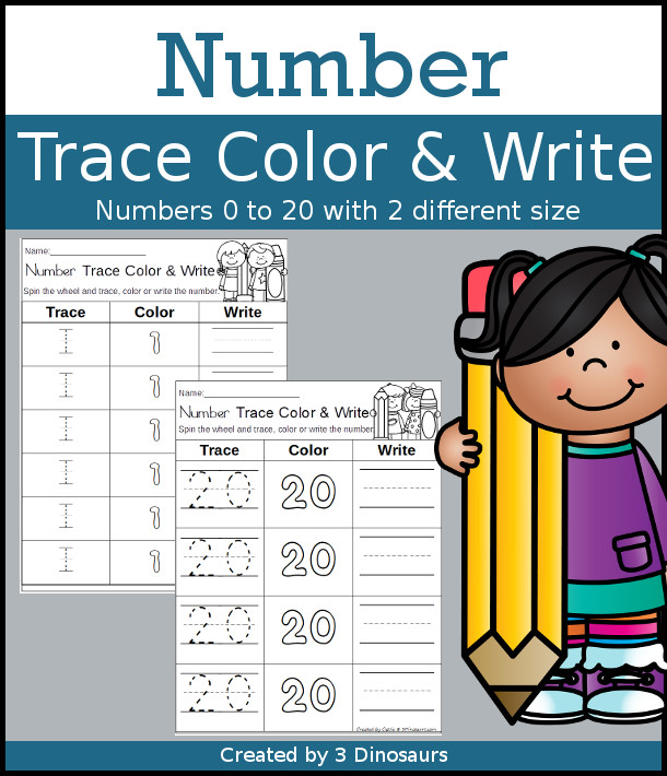 Number Trace Color & Write - 2 font sizes for kids to work on their numbers - 3Dinosaurs.com