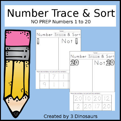 Number Trace & Sort Sample - 3Dinosaurs.com