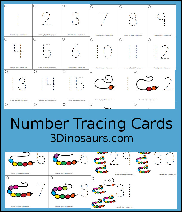 Free Handwriting: Number Tracing Cards For 1 to 31 - number digit with 1 to 31 with two options just number and numbers and matching pictures - 3Dinosaurs.com  #3dinosaurs #kindergarten #prek #numbers #freeprintable