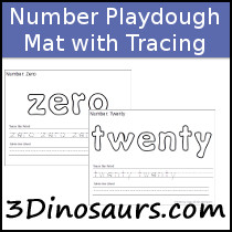 Number Word Playdough Mats with Tracing - 3Dinosaurs.com