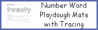 Number Word Playdough Mats with Tracing
