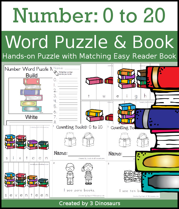Number Word Puzzles & Easy Reader books - hands-on spelling activity for number words o to 20 with matching books - 3Dinosaurs.com #easyerreaderbooks #numbersforkids #kindergarten