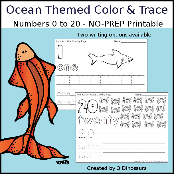 Ocean Themed Number Color Trace 3 Dinosaurs