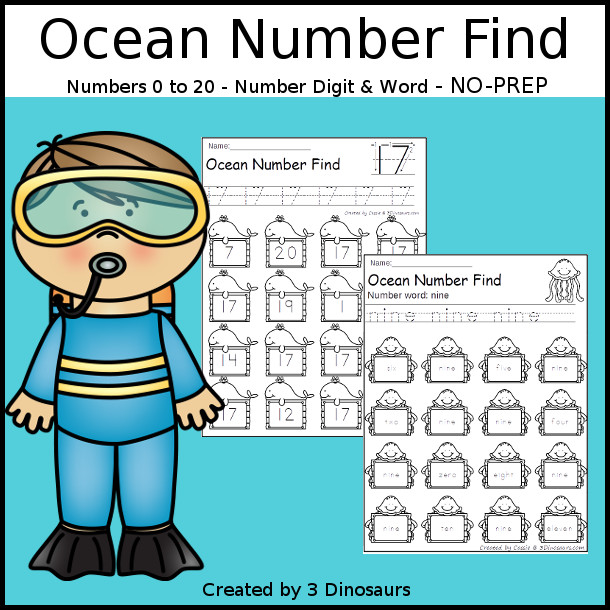 Ocean Number Find  - easy to use no-prep printable numbers 0 to 20 $ - 3Dinosaurs.com