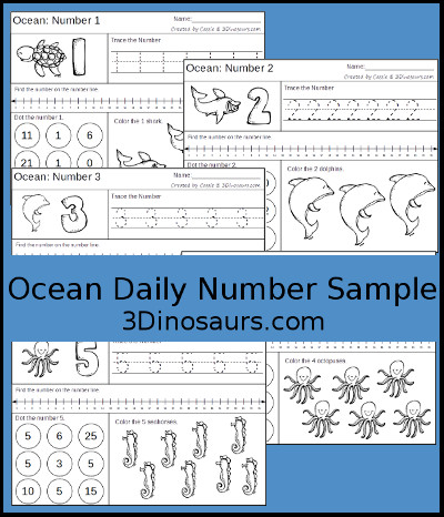 Ocean Daily Themed Number Sample - 3Dinosaurs.com