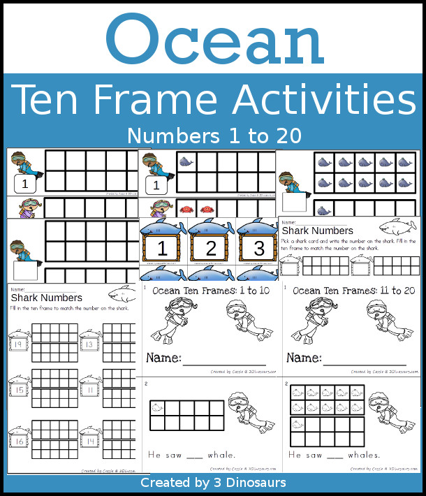Ocean Themed Ten Frame Printables: No-Prep & Hands-On | 3 Dinosaurs