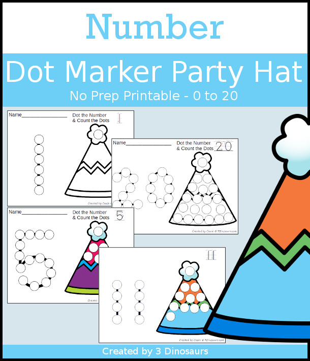 Party Hat Dot the Number & Count the Dots - numbers 0 to 20 with dot marker activities for kids to work on numbers and counting - 3Dinosaurs.com