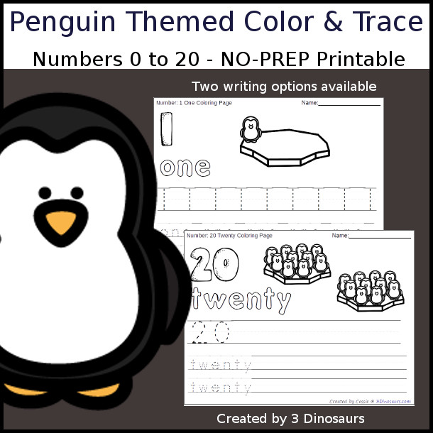 No-Prep Penguin Themed Number Color and Trace - easy no-prep printables with a fun Penguin on ice theme 44 pages with two options for the numbers tracing or writing $ - 3Dinosaurs.com #noprepprintable #penguinprintables #numbersforkids