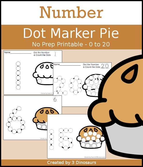 Pie Dot the Number & Count the Dots - numbers 0 to 20 with dot marker activities for kids to work on numbers and counting - 3Dinosaurs.com